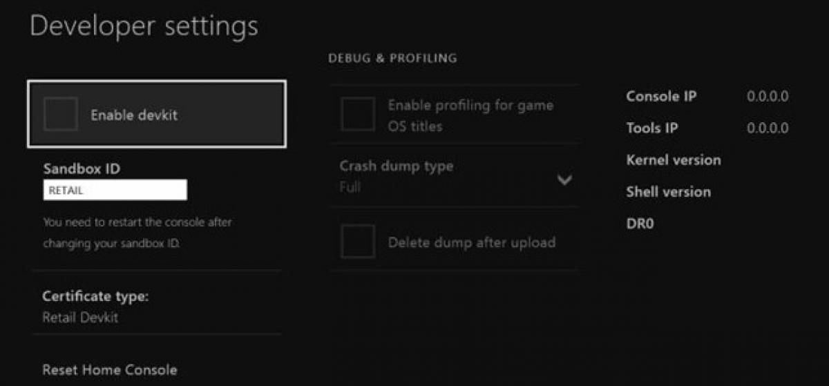 """Desvelado un menú """"debug"""" para desarrolladores en Xbox One"""